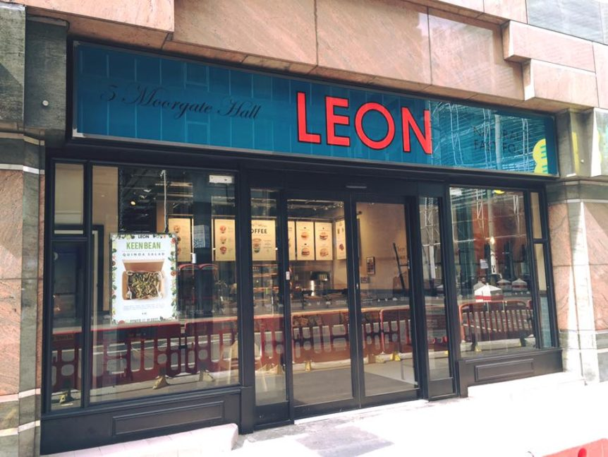 Image of Facias Signs at new Leon Restaurant in London. Manufactured by Avon Signs