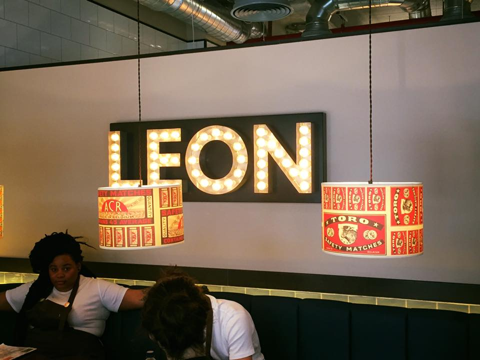 Image of illumated sign at Leon Restaurant on Moorgate, London. Sign made by Avon Signs