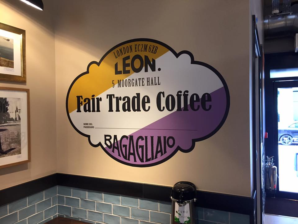 Image of internal wall graphic at Leon Restaurant in Moorgate London. Sign Project by Avon Signs